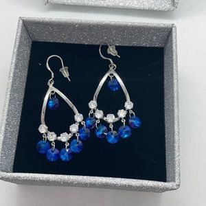 Blue Crystal Dangle Earrings New with Box